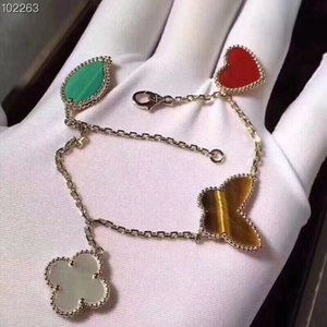 Famous S925 Sterling Silver Rose White And Yellow Gold Lucky Ceramic Four Leaf Clover Leaf Charm Bracelet For Women Jewelry