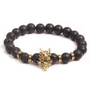 Venta al por mayor de curación pulsera de cuentas de piedra de lava natural negro piedra difusora pulsera buda dragon head pulsera para hombres mujeres