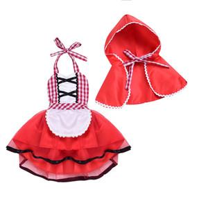 Appena nati del bambino ragazze vestono vestito dai vestiti di Natale con mantelle nuovo modo pannello esterno di plaid Little Red Hat due pezzi per neonate