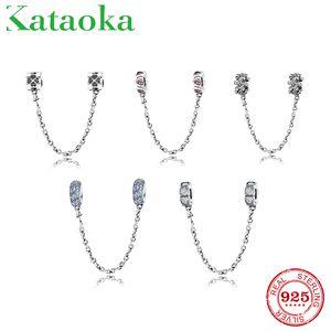 Echt 925 Sterling Silber Charms Bead Pink Herz Blume Runde Sicherheitskette Fit Original Pandora Charm Armband Schmuck machen