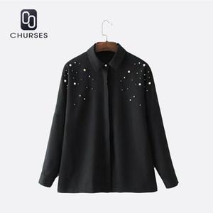 CHURSES 2017 Mulheres Elegantes Beading Pérolas Camisas Negras Turn-Down Collar Blusa de Manga Longa Feminino Casual Desgaste Do Escritório Tops Blusas