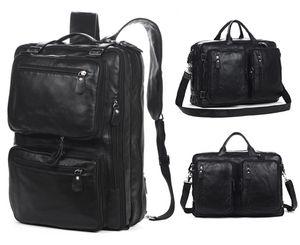 Multifuncional de couro genuíno Backpack Men Backpack escola da forma masculino Travel Bag Grande Couro Mochila Big Black
