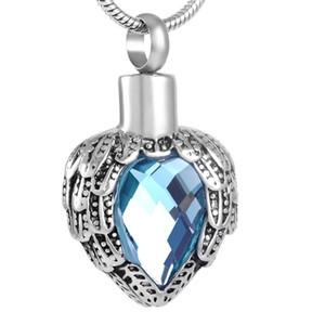 IJD8719 Feather Reter coração urna de cremação azul Rhinestone Urna Pendant para Pet Humano Ashes Cremação urna Ashes Titular Jóias