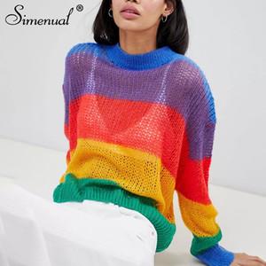 Simenual Gran ropa tejida mujeres suéteres y jerseys tamaño del arco iris del otoño 2018 de la manera atractiva transparente puente caliente tirón nueva