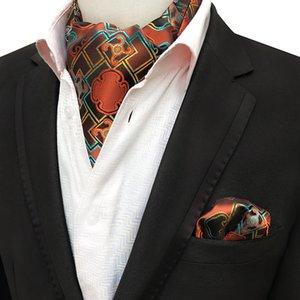 남자 Jacquard 포켓 스퀘어 신랑 웨딩 턱시도 넥타이 Ascot Scrunch 넥타이 세트 Paisley Floral 기하학 목 넥타이 손수건