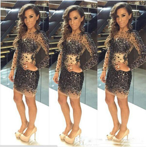 Sparkly ShinyCrystal Beaded Cocktail Dresses Long Sleeve Short 2018 Charming Luxury Mini Party Formal Prom Gown