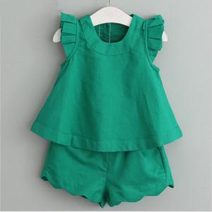 Atacado INS vestuário crianças roupas de grife meninas da moda jogo da camisa de manga t + shorts de 2 peças set terno bebé roupas de grife de vôo