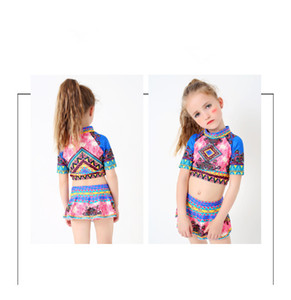 도매 새로운 어린이 수영복 여자 패션 비키니 베이비 비치 의류 Tankini 아기 수영복 온천 야외 수영 세트 두 조각