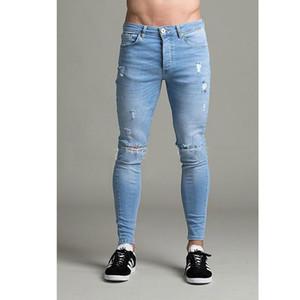 Джинсы High Street Hole Мужские повседневные хлопчатобумажные хлопковые небесно-голубые джинсы скинни Homme Бренд-дизайнер джинсовые брюки Spijkerbroek Mannen