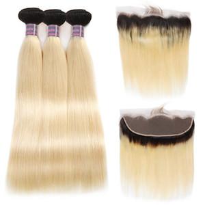 Бразильские волосы прямые человеческие волосы пучки Ombre наращивание волос 3шт. T1b / 613 светлые пучки с лобной