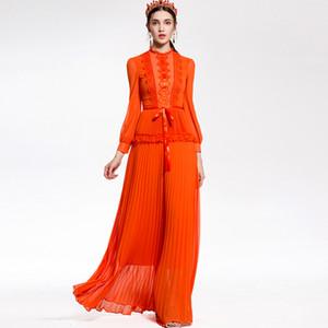 Леди Милана женщин 2018г o-образным вырезом с длинными рукавами вышивка кружева лоскутное Пром дизайнер плиссированные макси ВПП платья