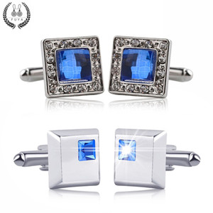 Blue Crystal White Rhinestones Squares Cufflinks For Mens Shirt Jewelry Trendy Geometric Twins Cufflinks Buttons Gifts 10pairs