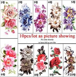 10pcs / lot 다채로운 큰 꽃 바디 아트 여자에 대 한 섹시 한 방수 임시 문신 아름 다운 플래시 문신 스티커 10 * 20 CM