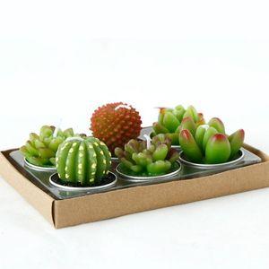 6 pcs 1 conjunto De Velas De Casamento Decorativas Mini Cactus Vela Mesa de Chá de Luz Para Casa Jardim Simulação Planta Vela festa de Decoração Para Casa SN1420