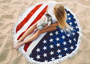 Amerikan Bağımsız Gün Kırmızı Çizgili Mavi Yıldız Plaj Havlusu Polyester Yuvarlak Plaj Havlusu Amerikan Bayrağı Baskılı Plaj Mat Eşarp