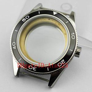 Cassa dell'orologio argentato Debert 41mm nero lunetta per Miyota 8205/8215 ETA 2836 DG2813 DG3804 Cassa dell'orologio Stanless acciaio movimento accessori P478