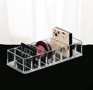 Claro acrílico 8 rejillas Organizador cosmético Caja de almacenamiento de polvo Caja de herramientas de maquillaje de las mujeres del hogar Contenedor de almacenamiento de cosméticos