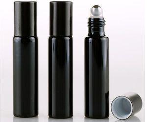 300pcs / lot 향수 병에 금속 볼 롤 10ML UV 빈 유리 Refillable 향수 병 Essential Bottles gold silver color SN613
