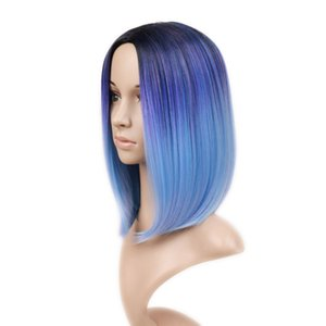 Synthetic Hair wigs for black women Wig Ombre Black Mixed Blue Purple Short Highlights Bob Wigs Straight Heat Resistant Cosplay Or Party Wig