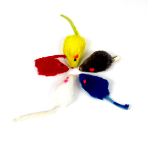 Pelo di coniglio Divertente Falso topo Ratto Giocattoli Peluche Mini topo Gatto Giocattolo Coniglio reale Pelliccia Ghiaia Suoni Giocattolo carino