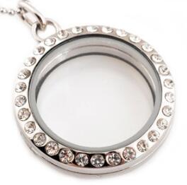 25mm di vetro Medaglioni di memoria per i fascini Collana apribile galleggiante con il regalo di Natale gioielli Dichiarazione di cristallo Oro Argento Moda