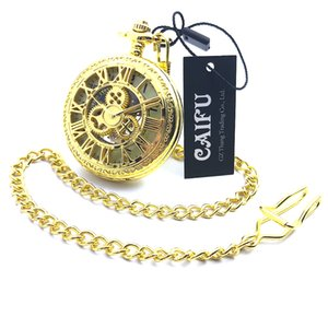 CAIFU Marke Skeleton Steampunk Golden Case arabische Nummer Zifferblatt mechanische Handaufzug Mens Pocket Watch w / Kette Half Hunter Watch