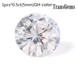 TransGems 5mm 0.5ct Carat GH Cor Rodada Corte Brilhante Lab Grown Moissanite Pedra Solta Teste Positivo