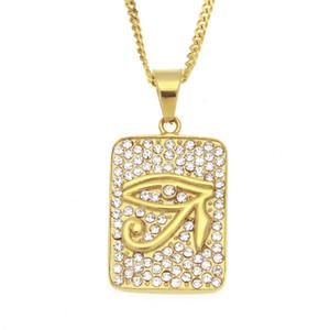 Colar Pingente Tag aço inoxidável de alta qualidade 316L 18K amarelo banhado a ouro Rhinestone Horus do cão do olho por Homens Mulheres presente agradável NL-561