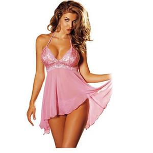 Moda Sexy Women's Summer Lace Strap ropa de dormir Sexy camisón de seda vestido de noche pijamas eróticos ropa interior íntima ropa de dormir