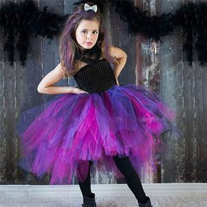 Foto 2-9y New Design Bruxa roxa Preto Meninas vestido Tutu Handmade vestido de tule Halloween Costume Carnaval Cosplay Partido