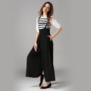 Jumpsuits Frauen-breite Bein-Hosen feste Baumwollmischgewebe hohe elastische Taille 3 Farben Damen-Spielanzug New Fashion Style 2017