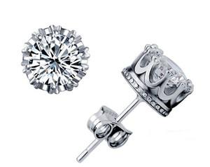 Moda Parçaları 925 gümüş küpe doğal kristal taç 7.5mm kadınlar için toptan küçük gümüş takı damızlık erkekler küpe