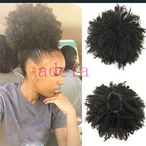 En Kaliteli Kinky Kıvırcık Puf İpli Saç Chignon afro Bun at kuyruğu Yeni Stil Kıvırcık Combsfor Siyah kadın