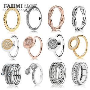 FAHMI 100% 925 Sterling Silver Jewelry Cinco casamento Laps Surround Cristal Amor Anel esmeralda para Luxo Mulheres Charme Anéis de presente
