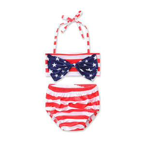 2018 Hot Summer Beach American Star Big Bow Top a righe rosse Slip Costumi da bagno a due pezzi Halter Hanging Neck Swimsuit