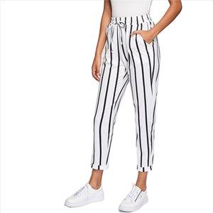 Schwarz-Weiß Casual Drawstring Taille gestreift hohe Taille verjüngt Karotte Hosen Sommer Frauen ausgehen Hosen