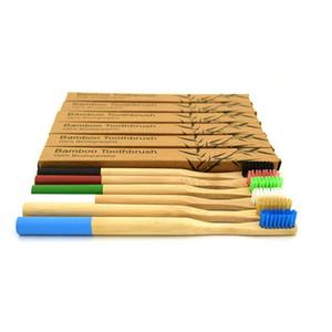 مجموعة من ستة ألوان الكبار فرشاة الأسنان الخيزران الطبيعي رأس صغير لينة جولة الخيزران مقبض لينة شعيرات فرشاة الأسنان