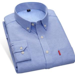 Nova Chegada Oxford Camisas Dos Homens Slim Fit Cor Sólida Manga Longa Outono Negócio Masculino Camisas Casuais 56% Algodão de Alta Qualidade