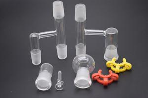 al por mayor ángulo de 90 grados Reclamar Ash Catcher 14.4 mm o 18.8 mm adaptador de vidrio de junta femenina masculina con Keck Clip para bongs de vaso
