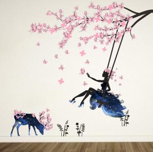 الساحرة رومانسية الجنية فتاة الجدار ملصق ل غرف الاطفال زهرة فراشة الحب القلب جدار صائق نوم أريكة الديكور جدار الفن