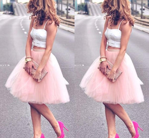 Charming Summer Knee Length Young Ladies Party Dresses Women Adult Tutu Tulle Skirt Two Pieces A Line Cheap Prom Dresses Party Wear Gowns