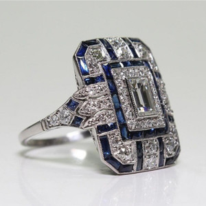 designer jewelry blue jewel crystal rings for women ladies female rings hot fashion free of shipping