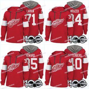 Homens 100 Detroit Red Asas Jerseys 25 Mike Verde 71 Dylan Larkin 34 Petr Mrazek 35 Jimmy Howard 40 Hoodies Zetterberg Camisolas Moletons