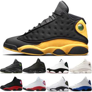 Он получил игру 13 13s Мужская обувь для баскетбола Мело класса 2002 года Призрачный черный кот высотой Bred Designer Тренеры Спортивный кроссовки Размер 41-47
