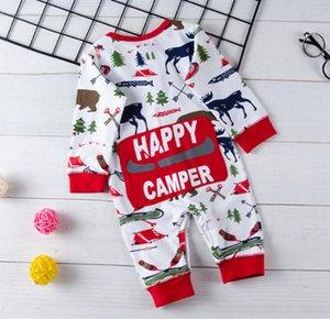 Noël 2018 bébé garçon Pyjama Outfit enfants nouveau-né Bodysuit rayé Romper ours renne d'hiver de Noël pour bébé Vêtements de bébé A01