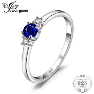 JewelryPalace Klasik 0.5ct Yuvarlak Düzenlendi Safir 3 Taşlar Nişan Promise Ring Kadınlar Için 925 Ayar Gümüş Moda Yüzükler S18101001