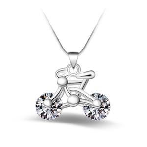 Silber Schmuck Anhänger Feine Weiße Diamant Fahrrad Anhänger 925 Schmuck Silber Halskette Mode Geschenk Halskette Top Qualität