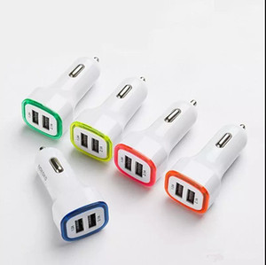 Rocket Design LED light 5v 2a Dual USB Car Charger adapter For iPhone 6 7 Samsung Universal coche de Cargador