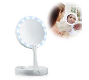 Benim Kat Uzakta LED ışıklı Makyaj Aynası Çift taraflı USB Işıklı Makyaj Aynası Dokunmatik Ekran Taşınabilir Masa Lambası