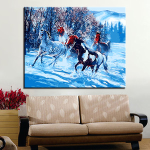 Winter Snow Horse Diy Painting By Numbers Kit Coloring By Numbers Modern Wall Art Picture By Numbers Home Decors Art